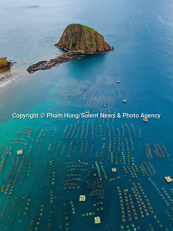Workers sail circular boats through a floating lobster farm, forming a beautiful pattern in the sea.  The farmers did so to check a series of coloured cages, each of which can hold up to ten lobsters.<br /> <br /> Once they are big enough, the lobsters are taken out of the cages to be sold.  Photographer Pham Hung pictured the lobster farm off the coast of Hon Yen Island, Vietnam.  SEE OUR COPY FOR DETAILS.<br /> <br /> Please byline: Pham Hung/Solent News<br /> <br /> © Pham Hung/Solent News & Photo Agency<br /> UK +44 (0) 2380 458800