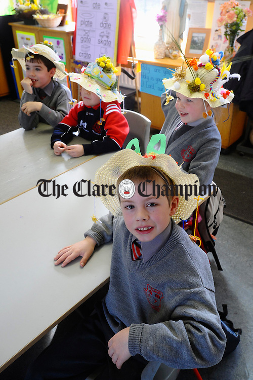 Cian Ketelaar and pals Eanna Mc Mahon, Niamh Turner and Sinead Mullins of Crusheen national school wearing their Easter Bonnetts. Photograph by John Kelly.