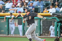 Robbie Grossman (15) of the Fresno Grizzlies at bat against the Salt Lake Bees in Pacific Coast League action at Smith's Ballpark on June 13, 2015 in Salt Lake City, Utah.  (Stephen Smith/Four Seam Images)