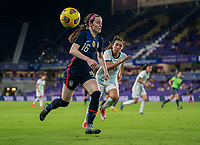 ORLANDO, FL - FEBRUARY 24: Rose Lavelle #16 of the USWNT sprints forward with the ball during a game between Argentina and USWNT at Exploria Stadium on February 24, 2021 in Orlando, Florida.