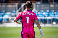 SAN JOSE, CA - APRIL 24: JT Marcinkowski #1 of the San Jose Earthquakes carries the ball during a game between FC Dallas and San Jose Earthquakes at PayPal Park on April 24, 2021 in San Jose, California.