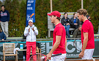 Netherlands, September 27,  2020, Beneden-Leeuwen, TV Lewabo, Competition, Men's premier league, TV Lewabo vs TV Suthwalda, Doubles: Steffan Wauters (NED) (L) and Justin Eleveld (NED) team Lewabo win the doubles and celebrate<br /> Photo: Henk Koster/tennisimages.com