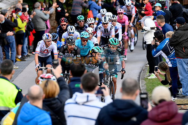 Bora-Hansgrohe try to split the race during Stage 13 of the 103rd edition of the Giro d'Italia 2020 running 192km from Cervia to Monselice, Italy. 16th October 2020.  <br /> Picture: LaPresse/Fabio Ferrari | Cyclefile<br /> <br /> All photos usage must carry mandatory copyright credit (© Cyclefile | LaPresse/Fabio Ferrari)