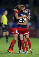 Boyds, MD - Friday Sept. 30, 2016: Shelina Zadorsky, Tori Huster, Caprice Dydasco celebrate after a National Women's Soccer League (NWSL) semi-finals match between the Washington Spirit and the Chicago Red Stars at Maureen Hendricks Field, Maryland SoccerPlex. The Washington Spirit won 2-1 in overtime.