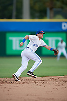 Dunedin Blue Jays shortstop Logan Warmoth (2) during a game against the Lakeland Flying Tigers on July 31, 2018 at Dunedin Stadium in Dunedin, Florida.  Dunedin defeated Lakeland 8-0.  (Mike Janes/Four Seam Images)