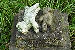 Childs Teddy bear and soft toy abandoned cemetery Norfolk. 2014, 2010s UK