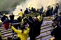 COLUMBUS, OH - DECEMBER 12: Columbus Crew supporters celebrate after their team's second goal during a game between Seattle Sounders FC and Columbus Crew at MAPFRE Stadium on December 12, 2020 in Columbus, Ohio.