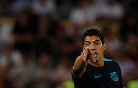 Calcio, Champions League, Gruppo E: Roma vs Barcellona. Roma, stadio Olimpico, 16 settembre 2015.<br /> FC Barcelona's Luis Suarez gestures as he warms up before to the start of a Champions League, Group E football match between Roma and FC Barcelona, at Rome's Olympic stadium, 16 September 2015.<br /> UPDATE IMAGES PRESS/Riccardo De Luca<br /> <br /> *** ITALY AND GERMANY OUT ***