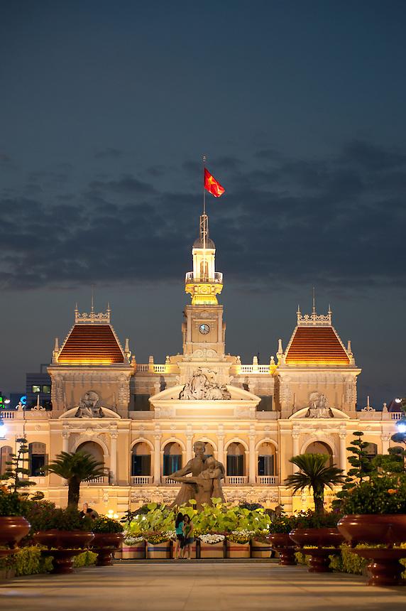 Ho Chi Minh City, City Hall at night