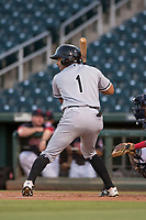 AZL White Sox designated hitter Camilo Quinteiro (1) at bat during an Arizona League game against the AZL Indians 1 at Goodyear Ballpark on June 20, 2018 in Goodyear, Arizona. AZL Indians 1 defeated AZL White Sox 8-7. (Zachary Lucy/Four Seam Images)
