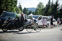Simon Clarke (AUS/Orica-GreenEDGE) 'stayered' up the final climb to Chamrousse (1730m/18.2km/7.3%)<br /> <br /> 2014 Tour de France<br /> stage 13: Saint-Etiènne - Chamrousse (197km)