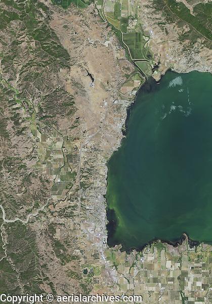 aerial map of northwestern Clear Lake,  Lake County, California, 2014