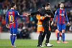 Supporter invades the field to be photographed with FC Barcelona's Leo Messi during Spanish Kings Cup semifinal 2nd leg match. February 07,2017. (ALTERPHOTOS/Acero)