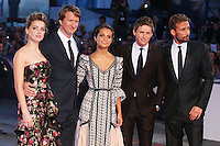 From left, Amber Heard, Tom Hooper, Alicia Vikander, Eddie Redmayne and Matthias Schoenaerts  attend the red carpet for the premiere of the movie 'The Danish Girl' during 72nd Venice Film Festival at Palazzo Del Cinema in Venice, Italy, September 5.<br /> UPDATE IMAGES PRESS/Stephen Richie