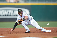 Charlotte Knights third baseman Trey Michalczewski (18) fields a ground ball against the Gwinnett Braves at BB&T BallPark on July 14, 2019 in Charlotte, North Carolina.  The Stripers defeated the Knights 5-4. (Brian Westerholt/Four Seam Images)