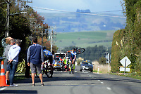 Daniel Busbridge brings back a damaged bike following a crash in the home straight of the Under-23 and Senior Men's road race, Carterton-Martinborough-Gladstone circuit, on day two of the 2018 NZ Age Group Road Cycling Championships in Carterton, New Zealand on Sunday, 22 April 2018. Photo: Dave Lintott / lintottphoto.co.nz