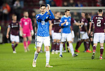 Hearts v St Johnstone…26.01.19…   Tynecastle    SPFL<br />Scott Tanser applauds the travelling saints fans at full time<br />Picture by Graeme Hart. <br />Copyright Perthshire Picture Agency<br />Tel: 01738 623350  Mobile: 07990 594431