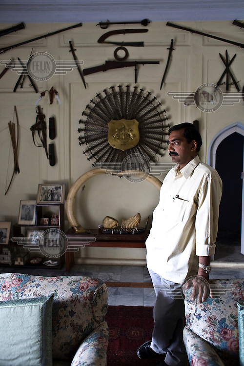 The King of Rampura, Raja Keshwendra Singh, who still enjoys the status of King in this feudal part of the country, at his home.