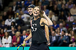 March 05, 2018: Savannah Guthrie and partner Jack Sock (USA) react during their doubles set against Roger Federer (SUI) and Bill Gates at The Match for Africa 5 Silicon Valley played at the SAP Center in San Jose, California. ©Mal Taam/TennisClix