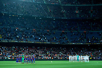 20th September 2021; Nou Camp, Barcelona, Spain; La Liga football league, FC Barcelona versus Granada CF;  Both teams line up prior to the Liga match between FC Barcelona and Granada CF .