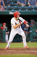 Springfield Cardinals second baseman Dickie Joe Thon (35) squares around to bunt during a game against the Corpus Christi Hooks on May 30, 2017 at Hammons Field in Springfield, Missouri.  Springfield defeated Corpus Christi 4-3.  (Mike Janes/Four Seam Images)