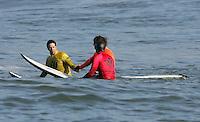 Kenny Skindog Collins, Carlos Burle, Alex Martin. Mavericks Surf Contest in Half Moon Bay, California on February 13th, 2010.