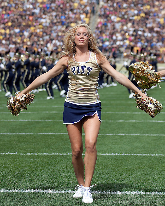 A Pitt dance girl performs before the game. The Pittsburgh Panthers defeat the New Hampshire Wildcats 38-16 at Heinz Field, Pittsburgh Pennsylvania on September 11, 2010.