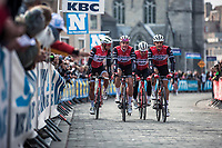 Team Trek Segafredo rider on their way to the pre race team presentation, with Jasper Stuyven (BEL/Trek Segafredo) and Mads Pedersen (DEN/Trek Segafredo)<br /> <br /> <br /> <br /> 82nd Gent – Wevelgem in Flanders Fields 2019 (1.UWT)<br /> Deinze – Wevelgem: 251,5km<br /> ©kramon