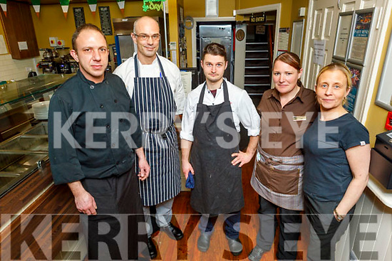Staff of the Brogue Inn on Sunday before they close their doors due to the advice from Government Agencies advice that all pubs, including hotel bars, have been asked to close until at least 29 March.<br /> Back l to r: Lukasz Rusek, Sabastien Godard and Przemek Lubasinski. <br /> Front Lisa Byrne and Noreen O'Mahoney.