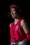 Jumpo Yurika (Red) of Japan enters to the ring prior the female muay 48KG division weight bout against Kwok How Ling (Not in picture) of Hong Kong during the East Asian Muaythai Championships 2017 at the Queen Elizabeth Stadium on 13 August 2017, in Hong Kong, China. Photo by Yu Chun Christopher Wong / Power Sport Images