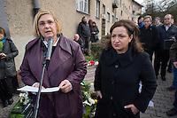Gedenken an Hatun Sueruecue (U-Umlaut!)<br />Am Freitag den 7. Februar 2014 gedachten in Berlin-Tempelhof an die am 7. Februar 2005 ermordete Hatun Sueruecue. Die Kurdin Hatun Sueruecue 2005 von ihren Geschwistern ermordet, da sie sich nicht der traditionellen Lebensart ihrer Familie anschliessen und ein selbstbestimmtes Leben fuehren wollte.<br />Der Bezirk hat zur Mahnung einen Gedenkstein aufgestellt, an dem sich jaehrlich in Gedenken an Hatun Sueruecue versammelt wird.<br />Im Bild vlnr.: Bezirksbuergemeisterin von Berlin-Templehof, Angelika Schoettler; Dilek Kolat, Senatorin fuer Arbeit, Integration und Frauen.<br />7.2.2014, Berlin<br />Copyright: Christian-Ditsch.de<br />[Inhaltsveraendernde Manipulation des Fotos nur nach ausdruecklicher Genehmigung des Fotografen. Vereinbarungen ueber Abtretung von Persoenlichkeitsrechten/Model Release der abgebildeten Person/Personen liegen nicht vor. NO MODEL RELEASE! Don't publish without copyright Christian-Ditsch.de, Veroeffentlichung nur mit Fotografennennung, sowie gegen Honorar, MwSt. und Beleg. Konto:, I N G - D i B a, IBAN DE58500105175400192269, BIC INGDDEFFXXX, Kontakt: post@christian-ditsch.de<br />Urhebervermerk wird gemaess Paragraph 13 UHG verlangt.]