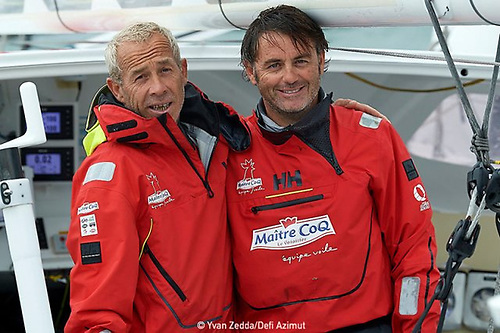 Roland Jourdain (left) and Yannick Bestavan will race together in the Fastnet Race on August 8 in the waters of the Solent and on November 8 in the Jacques Vabre Transatlantic Race