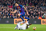 Real Madrid's Luka Modric, FC Barcelona's Sergio Busquets during spanish La Liga match between Futbol Club Barcelona and Real Madrid  at Camp Nou Stadium in Barcelona , Spain. Decembe r03, 2016. (ALTERPHOTOS/Rodrigo Jimenez)