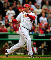 13 April 2009: Washington Nationals' outfielder Adam Dunn has his bat slip from his grip while at bat against the Philadelphia Phillies during the Nats' Home Opener at Nationals Park in Washington, DC. The Nats fell short in their 9th inning rally, losing 9-8, and marking their 7th consecutive loss of the 2009 season. Mandatory Credit: Ed Wolfstein Photo