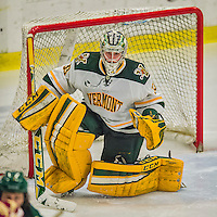 20 February 2016: University of Vermont Catamount Goaltender Packy Munson, a Freshman from Hugo, MN, in third period action against the Boston College Eagles at Gutterson Fieldhouse in Burlington, Vermont. The Eagles defeated the Catamounts 4-1 in the second game of their weekend series. Mandatory Credit: Ed Wolfstein Photo *** RAW (NEF) Image File Available ***