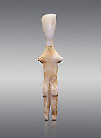 Abstract Cycladic figurine , Louris type, from Naxos, 2800-2500 BC, Museum of Cycladic Art Athens,  Against Grey Background. <br /> <br /> The figurine has no facial features and is of no determinable sex. The figureine is of the Louros typle, named after a site in Naxos and with stuby arms is considered to be an abstract development of the Plastiras type, of which it retains such traits and naturalistically separated legs and horizontal feet. The arms have been reduced to two protuberances at shoulder level and all anitomical features have virtually disappeared.
