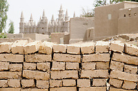 MALI, Mopti, mosque built from clay, clay bricks