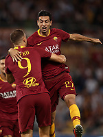 Calcio, Serie A: Roma - Atalanta, Stadio Olimpico, 27 agosto, 2018.<br /> Roma's Javier Pastore (r) celebrates after scoring with his teammate Edin Dzeko (l) during the Italian Serie A football match between Roma and Atalanta at Roma's Stadio Olimpico, August 27, 2018.<br /> UPDATE IMAGES PRESS/Isabella Bonotto