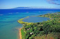 Molokai. Aerial of Kupeke fishpond with Island of Lanai in background.