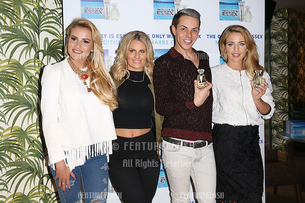 Lydia Bright, Bobby Norris, Danielle Armstrong, Georgia Kousoulou arriving for the TOWIE Fragrance launch, The Only Way is Essex stars launch their new perfume 'The Only Way is Marbs', London, England. 06/05/2015 Picture by: James Smith / Featureflash