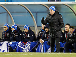 Mark Warburton and the freezing cold Rangers subs bench