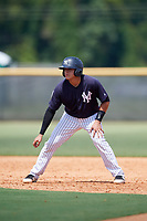 New York Yankees Jason Lopez (14) leads off during a Florida Instructional League game against the Pittsburgh Pirates on September 25, 2018 at Yankee Complex in Tampa, Florida.  (Mike Janes/Four Seam Images)