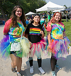 Aurora, Nicole and Skyla during the Pride Parade in downtown Reno on Saturday, July 28, 2018.