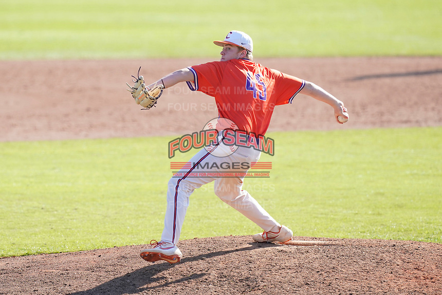 Landon Lucas (45) of the Clemson Tigers delivers a pitch in a fall Orange-Purple intrasquad scrimmage on Saturday, November 14, 2020, at Doug Kingsmore Stadium in Clemson, South Carolina. (Tom Priddy/Four Seam Images)
