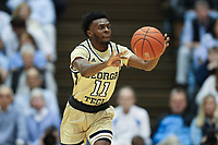 CHAPEL HILL, NC - JANUARY 4: Bubba Parham #11 of Georgia Tech passes the ball during a game between Georgia Tech and North Carolina at Dean E. Smith Center on January 4, 2020 in Chapel Hill, North Carolina.
