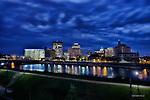 Dayton Ohio skyline at night with clouds