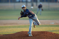 Mallard Creek Mavericks starting pitcher Tyler Delos (2) delivers a pitch to the plate against the Glenn Bobcats at Dale Ijames Stadium on March 22, 2017 in Kernersville, North Carolina.  The Bobcats defeated the Mavericks 12-2 in 5 innings.  (Brian Westerholt/Four Seam Images)