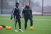 Thursday  21 January 2016<br /> Pictured: Swansea interim Manager, Alan Curtis (R)<br /> Re: Swansea City Training Session at the Fairwood training ground