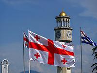 Flaggen von Georgien und Adscharien beim ChaCha-Turm am Hafen, Batumi, Adscharien - Atschara, Georgien, Europa<br /> flags of Georgia and Adjara at ChaCha tower, Batumi, Adjara,  Georgia, Europe