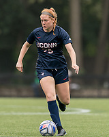 NEWTON, MA - AUGUST 29: Joyce Ryder #29 of University of Connecticut brings the ball forward during a game between University of Connecticut and Boston College at Newton Campus Soccer Field on August 29, 2021 in Newton, Massachusetts.